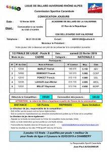 convocation Poule B demi finale de ligue Cadre N3